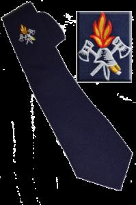 Feuerwehrkrawatte 100% Wolle gestickt mit Feuerwehremblem Akt Helm und Flamme dunkel Blau
