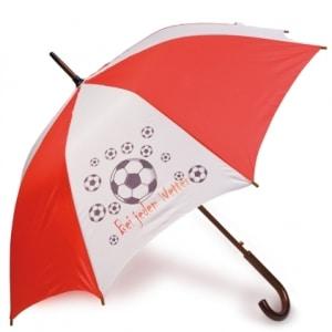 Regenschirm bedruckt zum Beispiel für Fussballtrainer wie hier zu sehen mit Fussball möglich sind alle Motive
